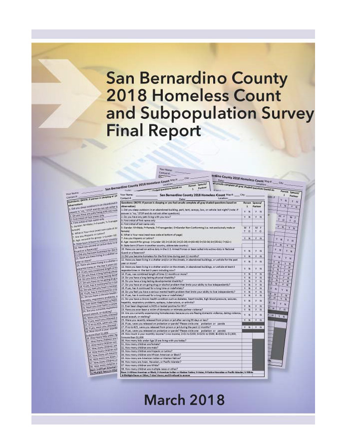 San Bernardino County 2018 Homeless Count and Subpopulation Survey